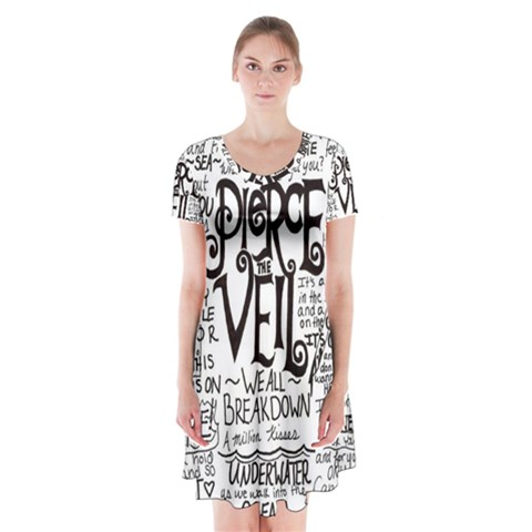 Pierce The Veil Music Band Group Fabric Art Cloth Poster Short Sleeve V-neck Flare Dress