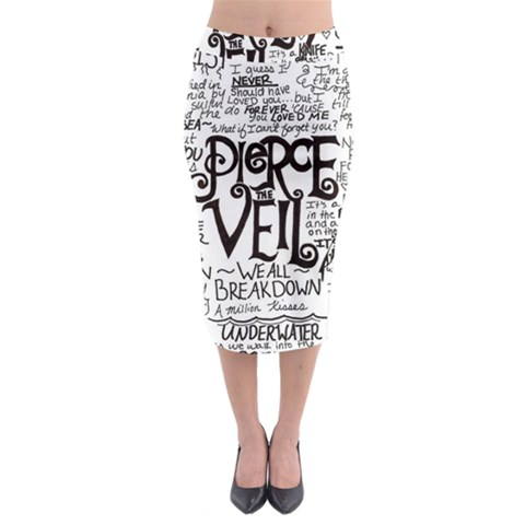 Pierce The Veil Music Band Group Fabric Art Cloth Poster Midi Pencil Skirt