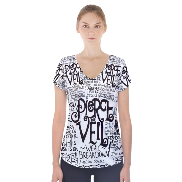 Pierce The Veil Music Band Group Fabric Art Cloth Poster Short Sleeve Front Detail Top