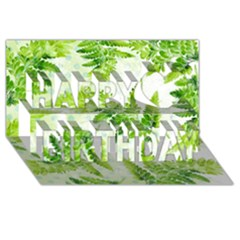 Fern Leaves Happy Birthday 3d Greeting Card (8x4)