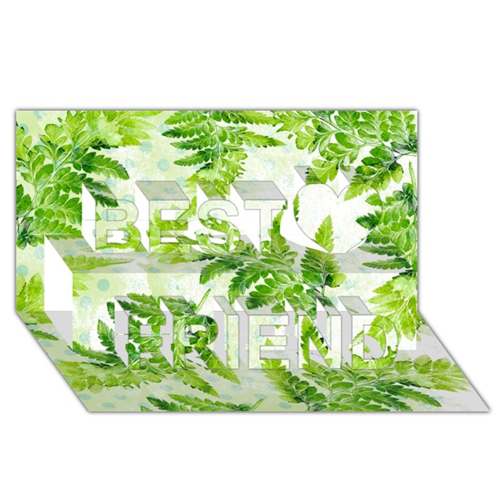 Fern Leaves Best Friends 3D Greeting Card (8x4)