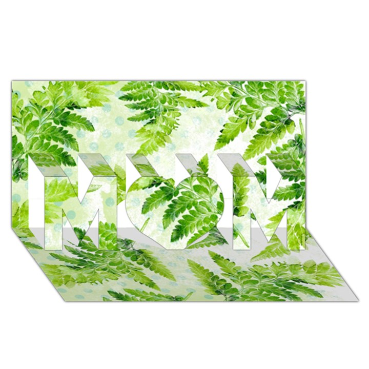 Fern Leaves MOM 3D Greeting Card (8x4)