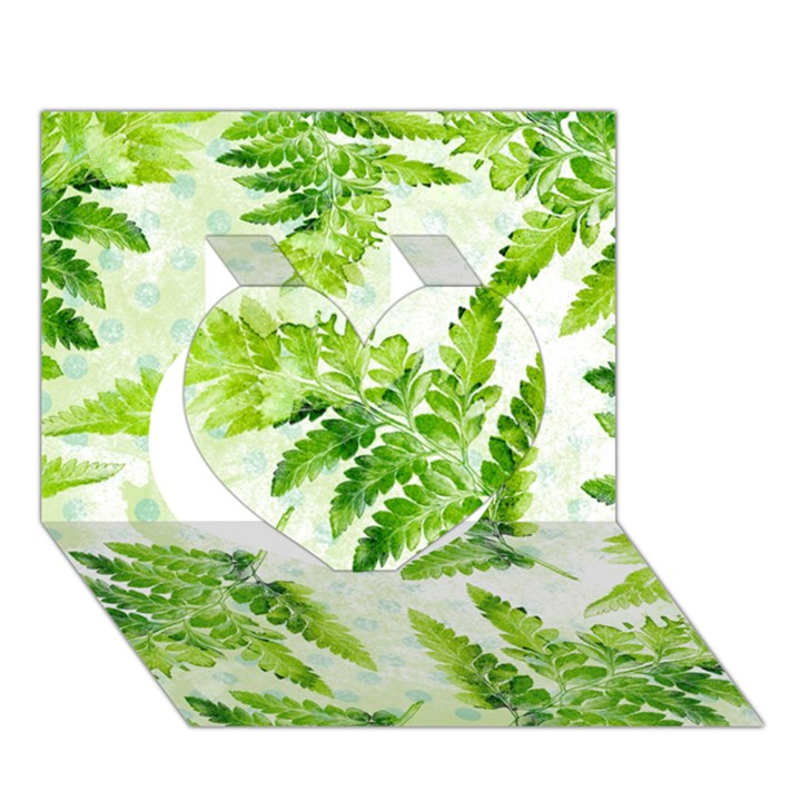 Fern Leaves Heart 3D Greeting Card (7x5)