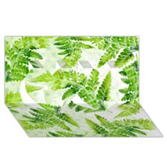 Fern Leaves Twin Hearts 3d Greeting Card (8x4)