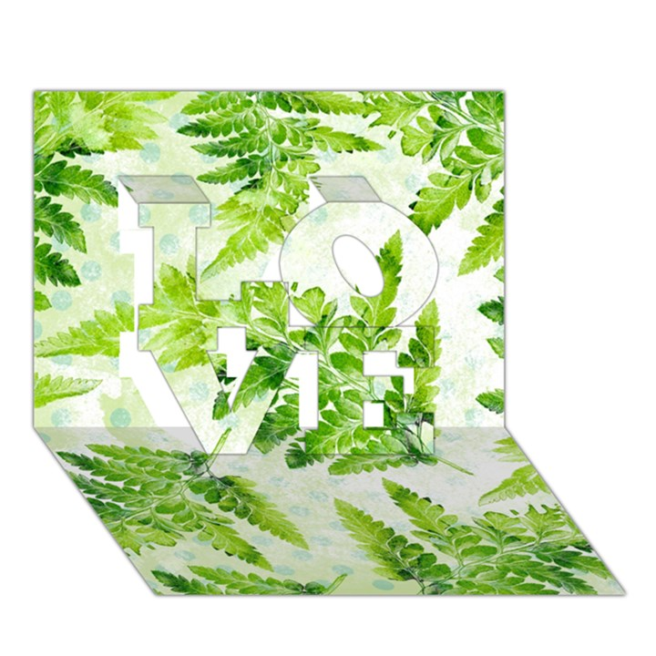 Fern Leaves LOVE 3D Greeting Card (7x5)
