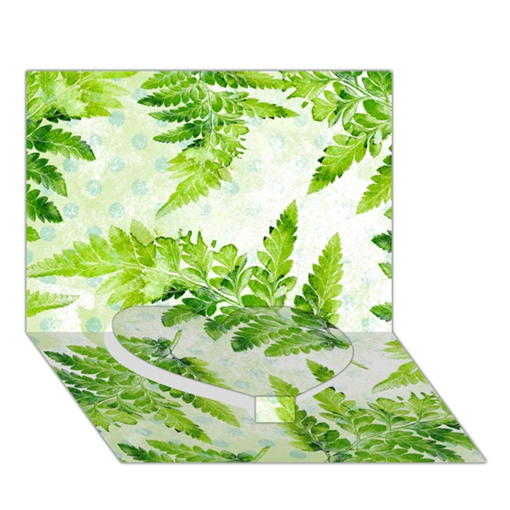 Fern Leaves Heart Bottom 3D Greeting Card (7x5)