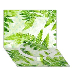 Fern Leaves Circle Bottom 3D Greeting Card (7x5)