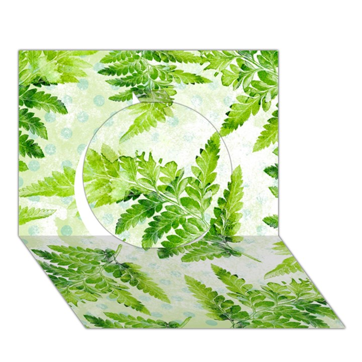 Fern Leaves Circle 3D Greeting Card (7x5)
