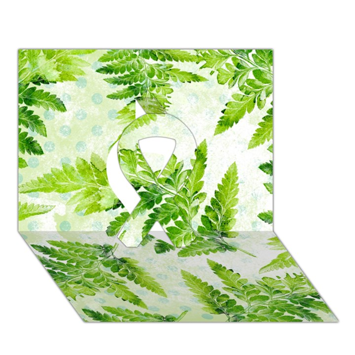 Fern Leaves Ribbon 3D Greeting Card (7x5)