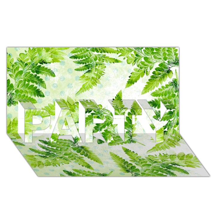 Fern Leaves PARTY 3D Greeting Card (8x4)