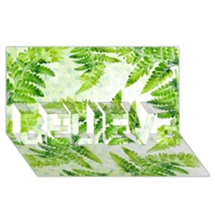 Fern Leaves BELIEVE 3D Greeting Card (8x4)