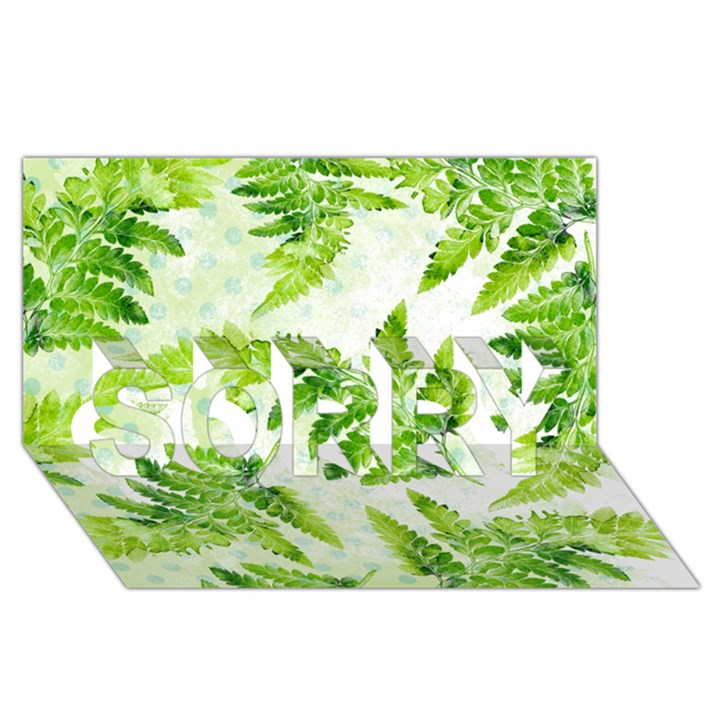 Fern Leaves SORRY 3D Greeting Card (8x4)