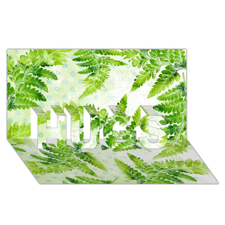Fern Leaves HUGS 3D Greeting Card (8x4)