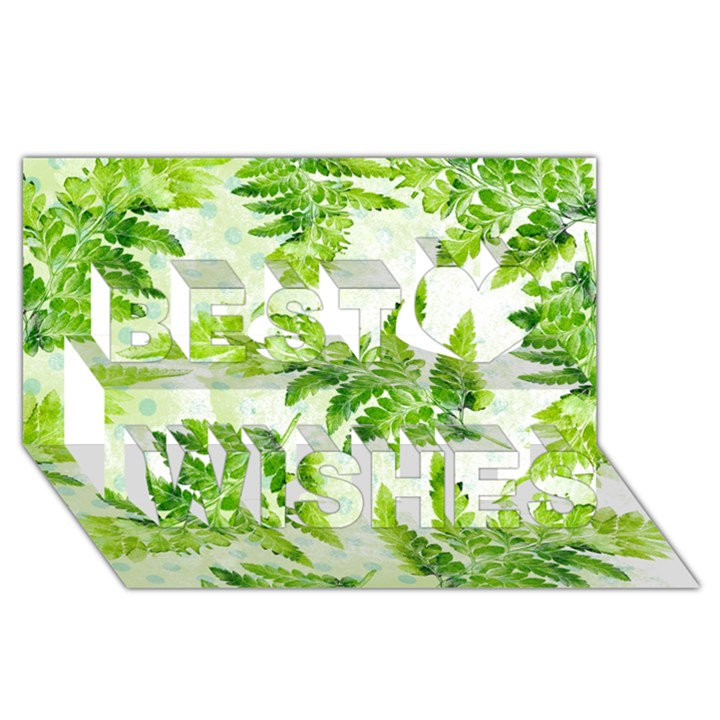 Fern Leaves Best Wish 3D Greeting Card (8x4)