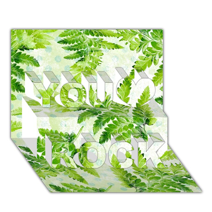Fern Leaves You Rock 3D Greeting Card (7x5)