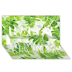 Fern Leaves Happy New Year 3D Greeting Card (8x4)
