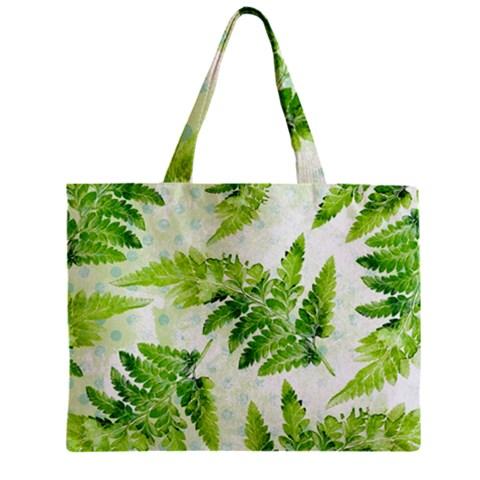 Fern Leaves Zipper Mini Tote Bag