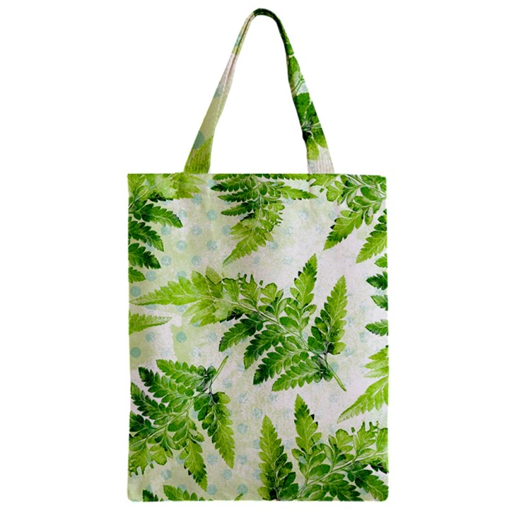 Fern Leaves Zipper Classic Tote Bag