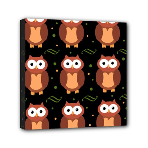 Halloween brown owls  Mini Canvas 6  x 6