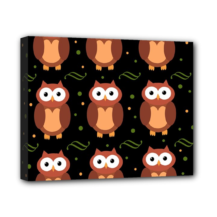 Halloween brown owls  Canvas 10  x 8