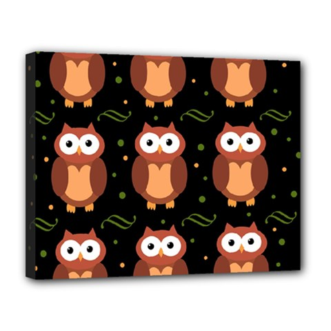 Halloween brown owls  Canvas 14  x 11