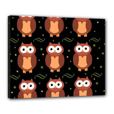 Halloween Brown Owls  Canvas 20  X 16