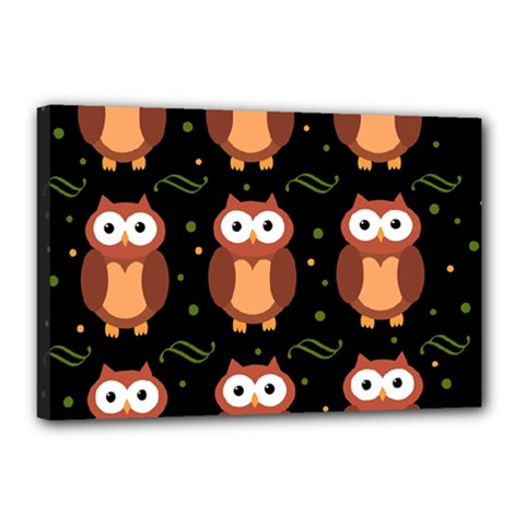 Halloween Brown Owls  Canvas 18  X 12