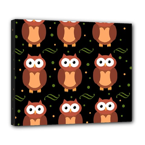 Halloween Brown Owls  Deluxe Canvas 24  X 20