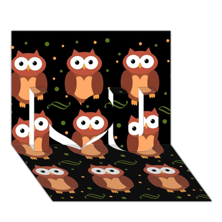 Halloween brown owls  I Love You 3D Greeting Card (7x5)