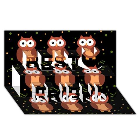 Halloween brown owls  Best Friends 3D Greeting Card (8x4)