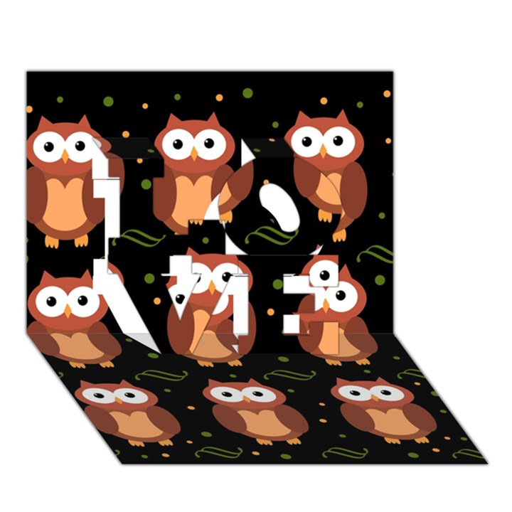 Halloween brown owls  LOVE 3D Greeting Card (7x5)
