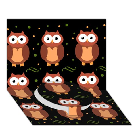 Halloween brown owls  Circle Bottom 3D Greeting Card (7x5)