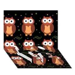 Halloween Brown Owls  Love Bottom 3d Greeting Card (7x5)