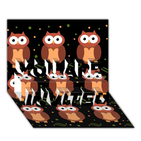 Halloween brown owls  YOU ARE INVITED 3D Greeting Card (7x5)