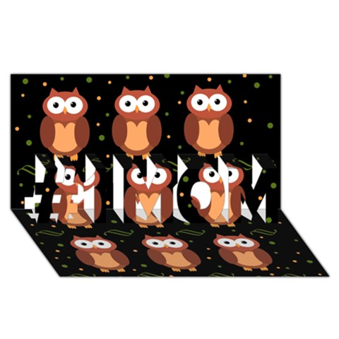 Halloween brown owls  #1 MOM 3D Greeting Cards (8x4)