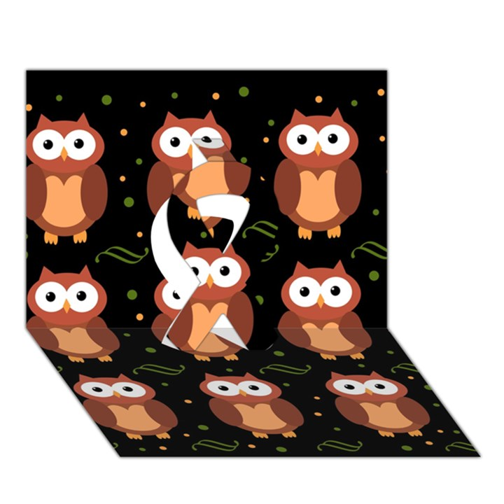 Halloween brown owls  Ribbon 3D Greeting Card (7x5)