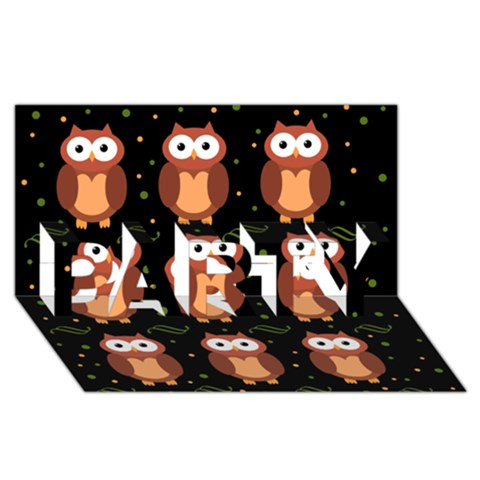 Halloween brown owls  PARTY 3D Greeting Card (8x4)