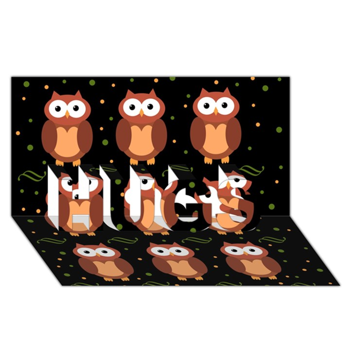 Halloween brown owls  HUGS 3D Greeting Card (8x4)