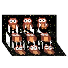 Halloween brown owls  Best Wish 3D Greeting Card (8x4)