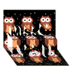Halloween Brown Owls  Miss You 3d Greeting Card (7x5)