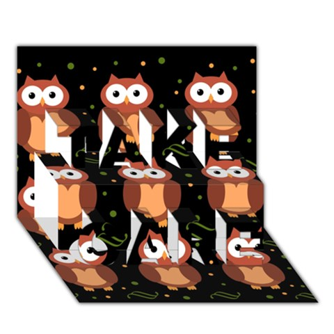 Halloween brown owls  TAKE CARE 3D Greeting Card (7x5)