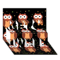 Halloween brown owls  Get Well 3D Greeting Card (7x5)