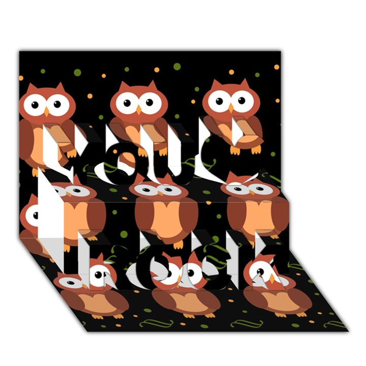 Halloween brown owls  You Rock 3D Greeting Card (7x5)