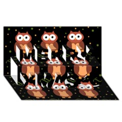 Halloween brown owls  Merry Xmas 3D Greeting Card (8x4)