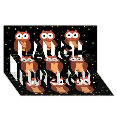 Halloween brown owls  Laugh Live Love 3D Greeting Card (8x4)