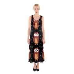 Halloween Brown Owls  Sleeveless Maxi Dress