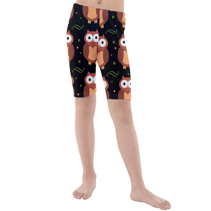 Halloween brown owls  Kids  Mid Length Swim Shorts