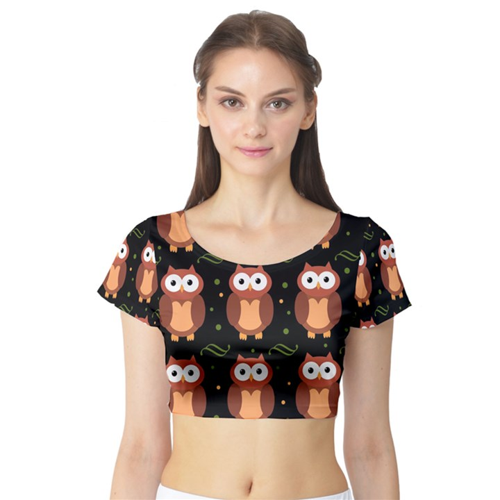 Halloween brown owls  Short Sleeve Crop Top (Tight Fit)
