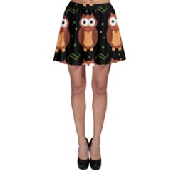 Halloween Brown Owls  Skater Skirt
