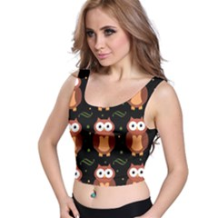 Halloween Brown Owls  Crop Top